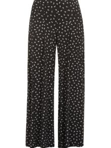 Black and white wide leg trousers