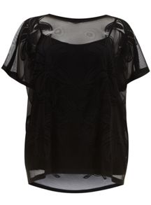 Black Floral Mesh Kaftan Top And Camisole