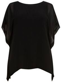 Black Layer Top With Shaped Back