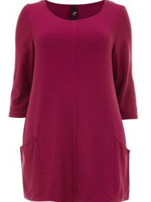Magenta soft touch pocket tunic