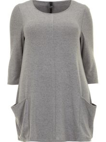 Grey soft touch pocket tunic