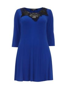 Blue Fit And Flare Tunic