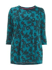 Teal soft touch floral print top
