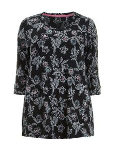 Soft Touch Black Floral Top