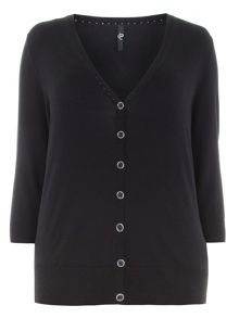 Plus Size Black Button Through Cardigan