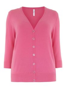 Plus Size Pink Button Through Cardigan