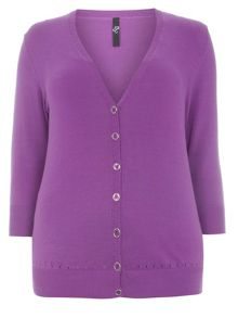 Purple Button Through Cardigan