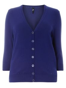 Plus Size Navy Button Through Cardigan