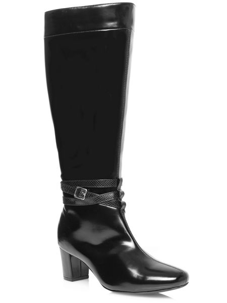 Evans Extra Wide Fit Black High Shine Heeled Boots