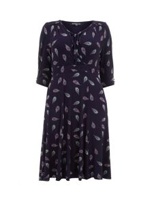 Purple Feather Print Jersey Dress