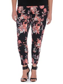 Floral Printed Crepe Trousers