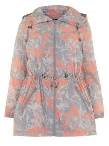 Plus Size Orange Floral Rain Mac
