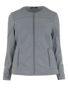 Plus Size Grey PU Jacket