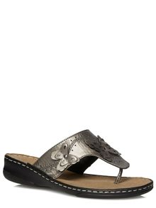 Extra Wide Fit Pewter Leather Butterfly Sandals