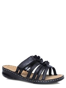 Black Leather Flower Sandal