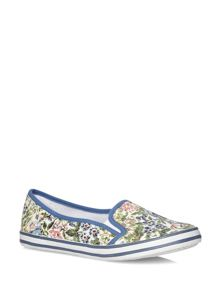 Extra Wide Fit Blue Floral Print Low Skater Shoes