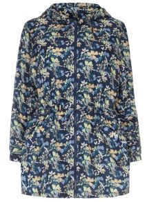 Plus Size Blue Floral Printed Rain Mac
