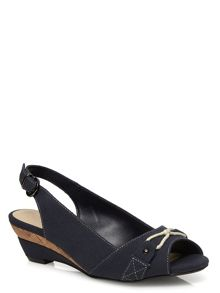 Navy Canvas Peeptoe Wedge