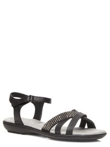 Wide Fit Black Bling Strap Sandals