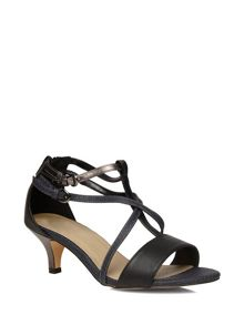 Extra Wide Fit Black Strappy Kitten Heel