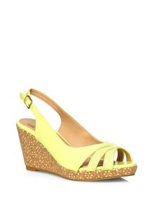 Extra Wide Lime Laser Cut Wedge Heel