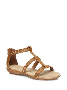 Tan Gem Gladiator Sandals