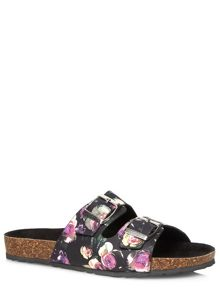 Floral Leather Buckle Sandals