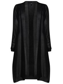 Plus Size Longline Side Split Cardigan