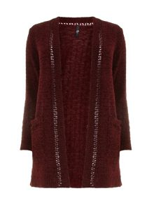 Red Chenille Cardigan