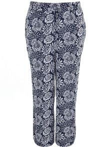 Plus Size Floral Print Wideleg Trousers