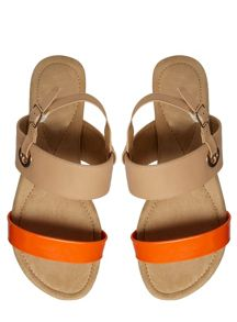 Extra Wide Fit Orange and Nude Sandals