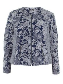 Plus Size Patchwork Bomber Jacket