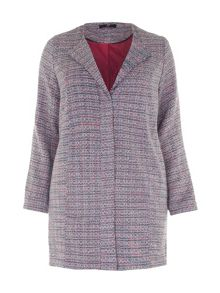 Plus Size Pink and Navy Tweed Coat