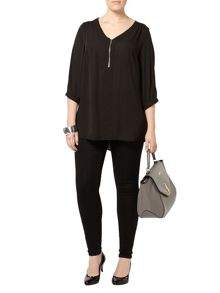 Plus Size Black Zip Front Crepe Shirt