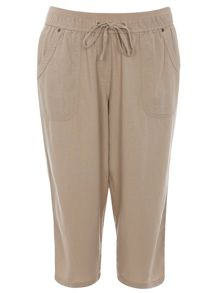 Plus Size Neutral Linen Blend Crop Trousers