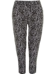 Plus Size Black and White Print Trousers