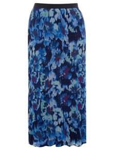 Plus Size Floral Printed Pleat Maxi Skirt