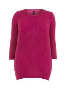 Pink Textured Stitch Jumper