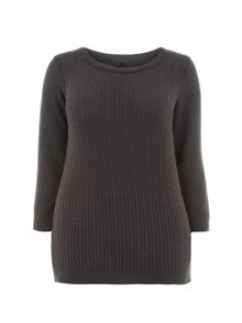 Grey Textured Stitch Jumper
