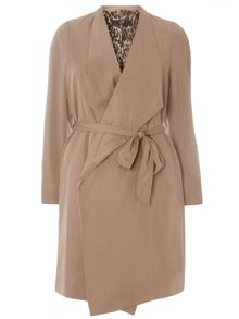 Plus Size Waterfall Front Trench Coat