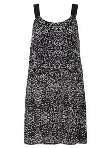 Plus Size Black Print Midi Dress