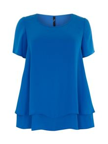 Plus Size Blue Crepe Layer Top
