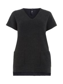 Plus Size Charcoal Grey Tabard Jumper
