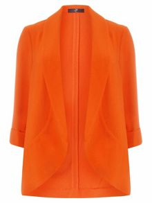 Plus Size Orange Drape Crepe Jacket