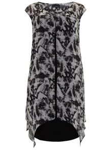 Plus Size Smoke Print Layer Dress