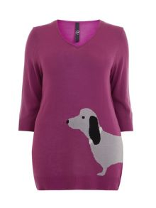 Purple Sausage Dog Motif Jumper