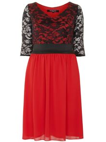 Plus Size Red Lace Dress and Top