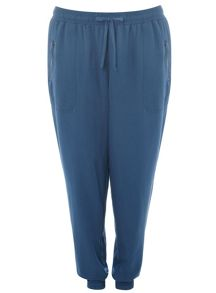 Plus Size Teal Mesh Panel Soft Trousers