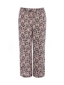 Plus size daisy print wide leg trousers