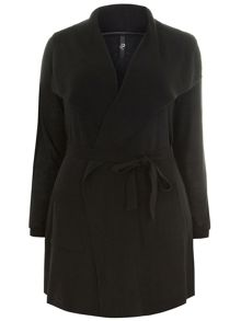 Plus Size Black Drape Cardigan